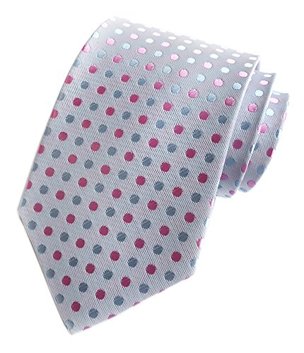 - Secdtie Men White Pink Dot Self Cravat Tie 100% Silk Jacquard Woven Necktie Y016