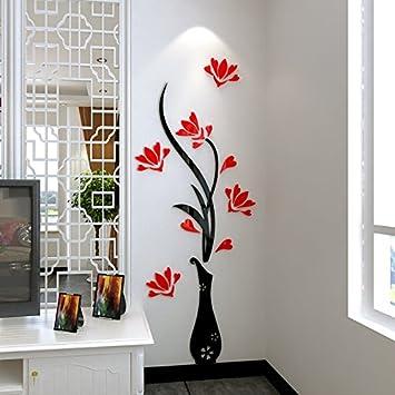 Prune Acrylique Acrylique vase en trois dimensions 3D stickers salon ...