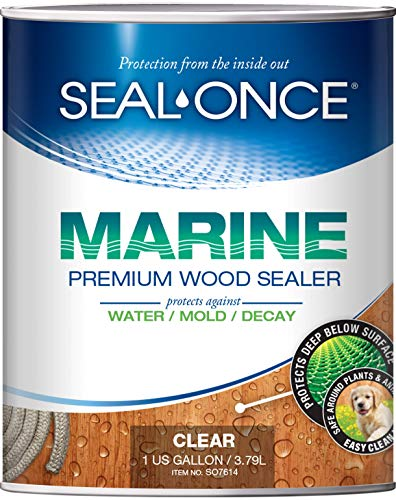 SEAL-ONCE MARINE - 1 Gallon Penetrating Wood Sealer, Waterproofer & Stain. Water-Based, Ultra-low VOC formula for high-moisture areas to protect wood docks, decks, piers & retaining walls. (Wood Stain Furniture Garden)