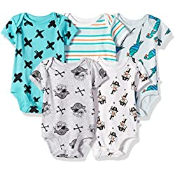 Rosie Pope Boys' Bodysuits 5 Pack, Green Pirate, 0-3 Months