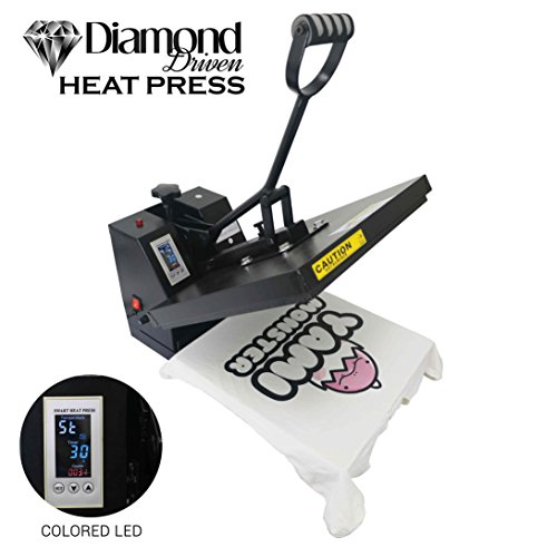 Heat Press Machine For T-Shirt, Professional Industrial Thermal Transfer Quality Color LED Triple Digital Display, Rosin Clamshell 15'' x 15'' Black NEW UPGRADED VERSION - CE Approved By Diamond Driven by Diamond