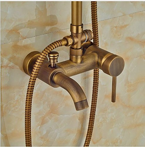 Gowe Antique Brass 8-in Rainfall Shower Set Bathroom Tub Units Single Lever Hot&Cold Faucet 3