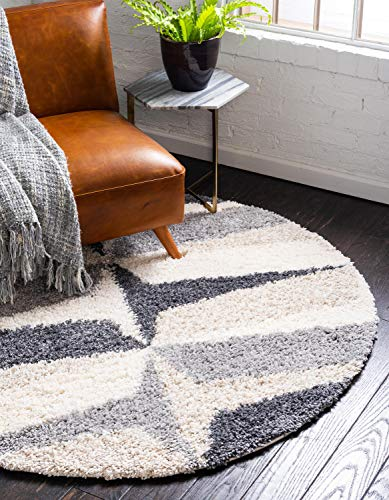 - Unique Loom Hygge Shag Collection Abstract Geometric Plush Cozy Gray Round Rug (3' 3 x 3' 3)