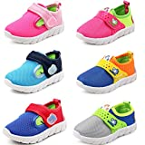 DADAWEN Baby's Boy's Girl's Breathable Strap Light Weight Casual Sneakers Running Shoes Gray US Size 4 M Toddler