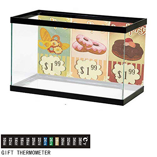 Aquarium Background,Vintage,Bakery Collection of Delicious Pastries Deserts Doughnuts and Cakes with Price Tags,Multicolor Fish Tank Backdrop 24