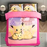 YOYOMALL 2015 New!Pink Cartoon Anime Pokemon Pikachu Duvet Cover Set,Pikachu Sheet Sets for Teens,Cotton Bedding Sets Twin Full Queen Size (King, Fitted sheet style)