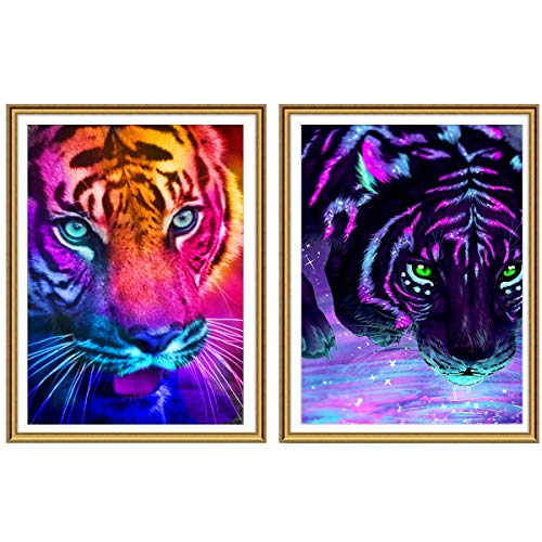 2 Pack 5D DIY Diamond Painting Galaxy Tiger Full Drill, Ginfonr Colorful Tigers Embroidery Rhinestone Paint with Diamonds Art Decoration Paintings Mosaic Home Decor 12x16 inch (30x40cm) ()
