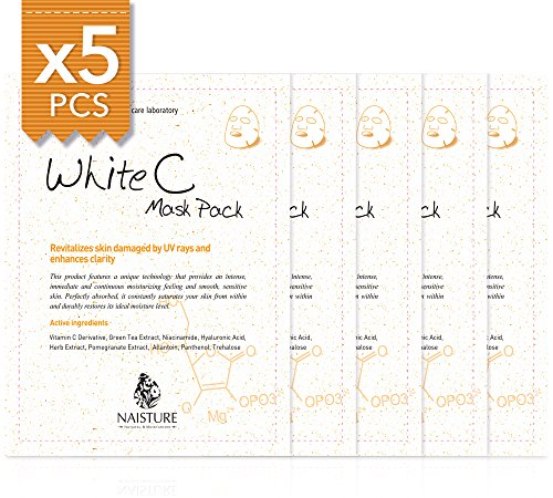 Facial Sheet Mask [NAISTURE] Face Treatment (5 Pack) Pure 100% Cotton, Smooth Moisturizing Revitalizes Skin Damaged by UV Rays and Enhances Clarity, 22mL Made in Korea - White C (Mask White Moisture Tea)