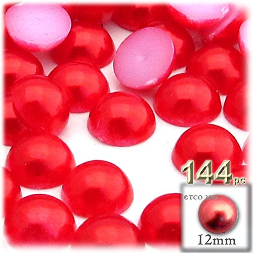Beads Dome (144-pc Pearl finish Half Dome Beads, Round, 12mm, Tulip Red)