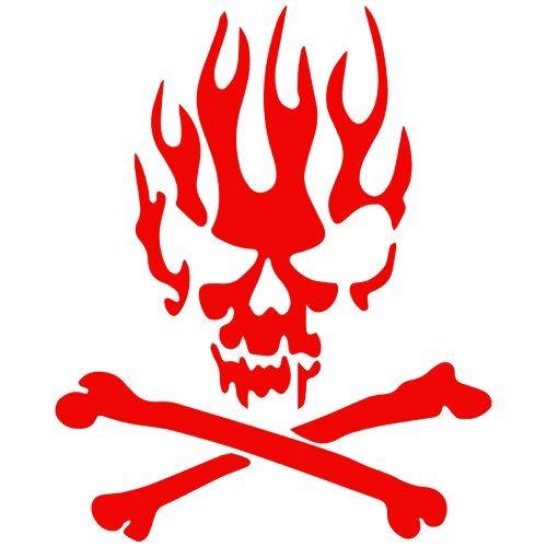 Set of 3 - Enflamed Skull n Crossbones Decal Sticker Color: red- Peel and Stick Vinyl Sticker (Crossbones Set)