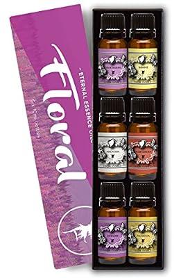 Floral Gift Set of 6/10ml Premium Grade Fragrance Oils - Lavender, Lilac Lillies, Jasmine, Plumeria, Rose Garden , Magnolia - Scented Oil