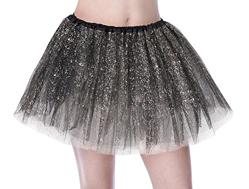 Tutu Women's Sparkle Sequin Triple Layered Tulle Party Dance Ballet Skirt, Black