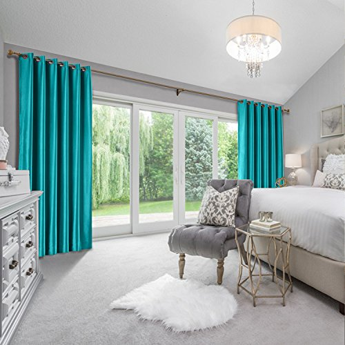 cololeaf Faux Silk Curtains Dupioni Light Reducing Window Curtain Panels for Bedroom Living Room Satin Drapes Privacy Window Treatments, Eyelet Grommet, Peacock 52