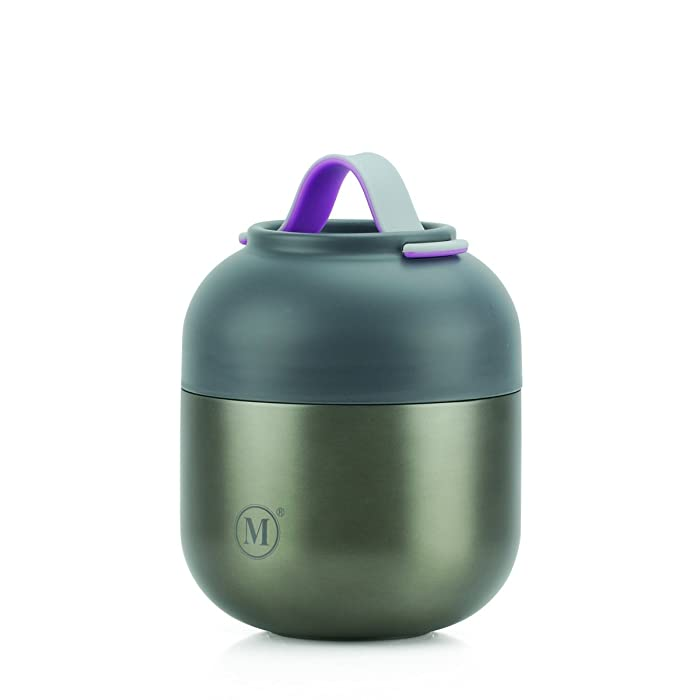 Minimal Stainless Steel Vacuum Insulated Food Jar V2 - Thermos, Soup Container, with Folding Spoon (17oz, Gunmetal)