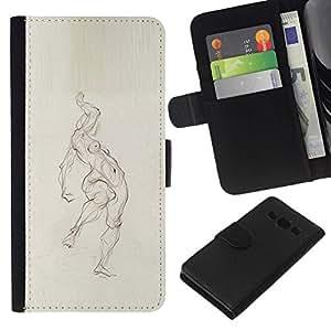 All Phone Most Case / Oferta Especial Cáscara Funda de cuero Monedero Cubierta de proteccion Caso / Wallet Case for Samsung Galaxy A3 // Pencil Woman Figure Body