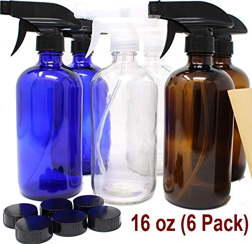 16 oz Glass Spray Bottles - 6 Pack - with Labels Refillable Container in Clear Amber Cobalt Blue Glass Boston Bottle for Cleaning Products, Aromatherapy Trigger Spray Bottle Dispenser by Jalousie