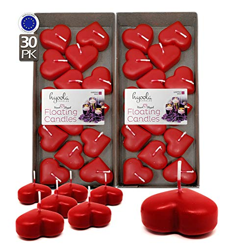 Premium Red Heart Floating Candles - Love Shaped Candles - 1.8 Inch - 2 Hour - 30 Pack - EU Manufactured