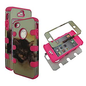 Hybrid Pinkstrip Cat For Apple Iphone 4 4S AT&T Box 3 in 1 High Impact Shock Defender Plastic Outside with Soft Silicon Snap On Cover Case (Pinkstrip Cat)