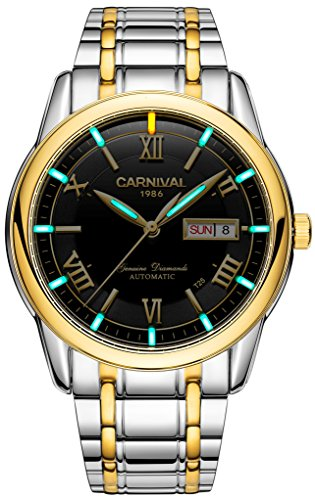 Men's Automatic Mechanical Watch Outdoor Military Tritium Gas Super Bright Blue or Green Luminous (Gold Black)