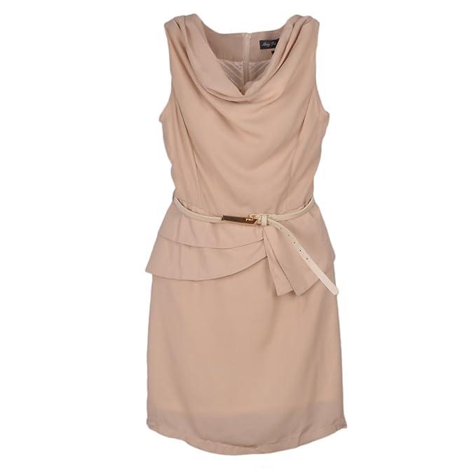 Crepe Wrinkle Neck Spell Sleeveless Tiny Dress With Belt Ivory 4P