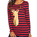 FANOUD Loose Striped Top Christmas Deer Print Long Sleeve Blouse