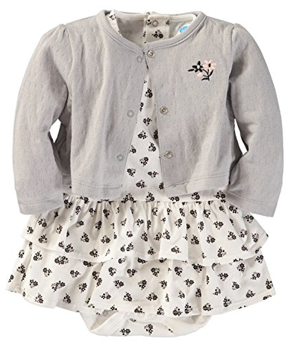 Bon Bebe Baby Girls' 2 Piece Cardigan and Dress Set (Black/White Floral, 3-6 Months)
