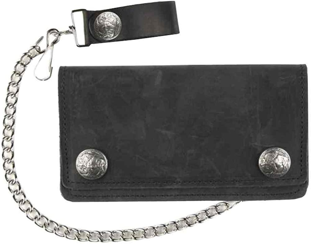 Men/'s biker/'s pocket sized natural genuine leather wallet with metal chain