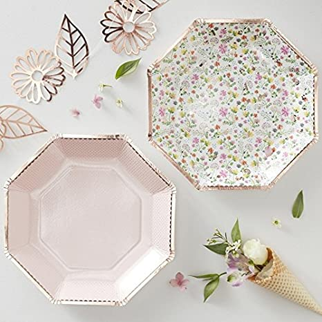bridal shower country wedding garden party birthday paper 9plates floral