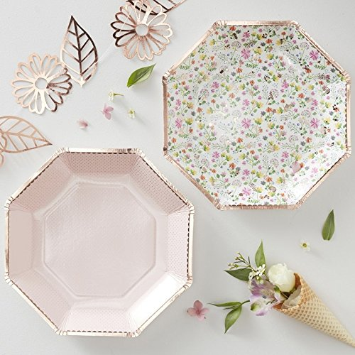 Floral Party Plates - Bridal Shower Country Wedding Garden Party Birthday Paper 9