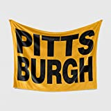 Personalized Corner Pittsburgh Steelers Fleece Throw Blanket - Mens Womens Gifts and Accessories - Apparel for Men Dad - Steeler Penguins Pirates Fan Merchandise for Car Travel Tailgate