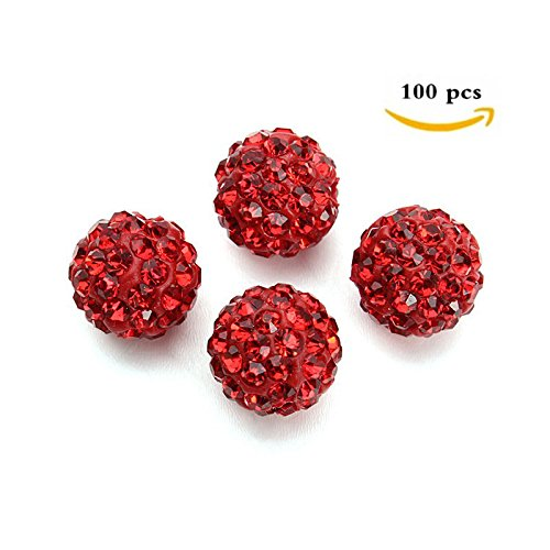 10mm Clay Pave Disco Ball for Rhinestone Crystal Shamballa Beads Charms Jewelry Makings Pack of 100 (RED) (10 Mm Rhinestone Crystal)