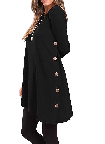 689081b5cc0 I2CRAZY Black Dresses for Women Casual Round Neck Long Sleeve Oblique Hem  Side Button Tunic Tops