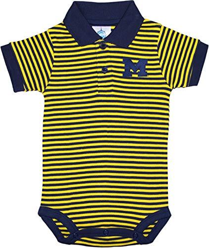 University of Michigan Wolverines Baby Striped Polo Bodysuit Navy/Yellow