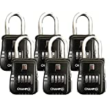 Champs Combination Realtor Lock, 4 Digit Comination Padlock, Real Estate Key Lock Box, Set-Your-Own Combination [6 Packs, Black]
