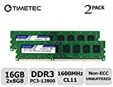dell 8 gb memory module - Timetec Hynix IC 16GB Kit (2x8GB) DDR3L 1600MHz PC3L-12800 Non ECC Unbuffered 1.35V/1.5V CL11 2Rx8 Dual Rank 240 Pin UDIMM Desktop Memory Ram Module Upgrade (16GB Kit (2x8GB))