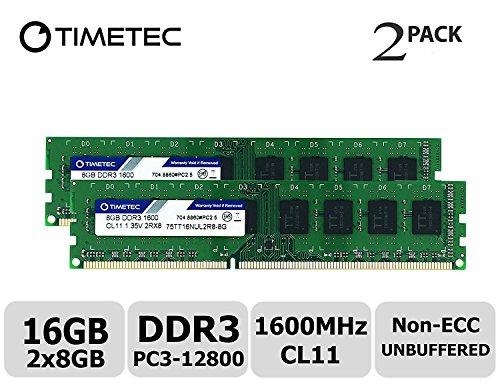 Timetec Hynix IC 16GB Kit (2x8GB) DDR3L 1600MHz PC3L-12800 Non ECC Unbuffered 1.35V/1.5V CL11 2Rx8 Dual Rank 240 Pin UDIMM Desktop Memory Ram Module Upgrade (16GB Kit (2x8GB)) - Desktop Module