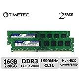 Timetec Hynix IC 16GB Kit(2x8GB) DDR3L 1600MHz PC3L-12800 Non ECC Unbuffered 1.35V/1.5V CL11 2Rx8 Dual Rank 240 Pin UDIMM Desktop Memory RAM(2x8GB)Kit