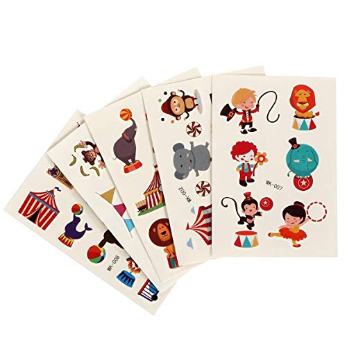 INVOKER Stickers for Kids & Toddlers Circus Zoo Theme Tattoo Stickers, Kids Stickers Collection Including Clown Lion Tiger Elephant Juggling Tent Ticket, etc