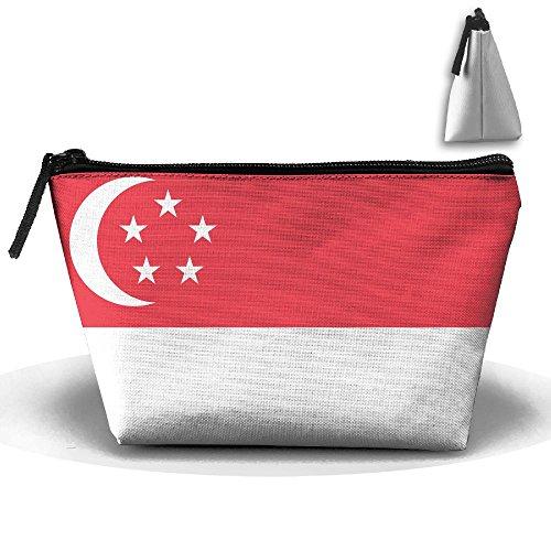 Flag Of Singapore Cute Trip Toiletry Bag Trapezoidal Zipper Receive Bag Travel - Certificate Singapore Gift