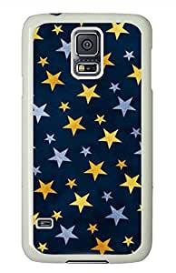 Blue Yellow Stars PC White Hard Case Cover Skin For Samsung Galaxy S5 I9600