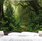 BJYHIYH Green Forest Tapestry Tree Landscape Large Tapestries Misty Nature Tapestry Wall Decor for Bedroom Living Room Dorm(90.6'×59.1')