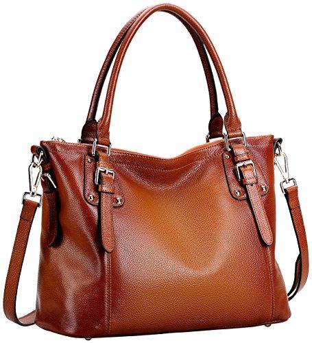 Farinal Women's Genuine Leather Handbags Retro Ladies Crossbody Bags And Satchel Color (Genuine Suede Leather Handbag)