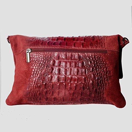 by cm Bolsos Mod cuero Rojo Clutch 2059 al 4 croco Zarolo 19 28 Fashion hombro Formel Pq05wgx4