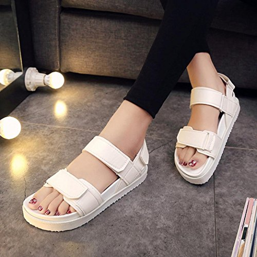 Bovake Summer Women Sandals, | Gladiator Flat Shoes Comfortable Sandals | Beach Shoes Bohemia High Heels Ankle Shoes Flat Wedges Shoes Footwear Flip Flop Sandal | No Rubbing | White