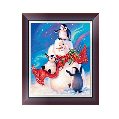 Wrisky 5D Diamond Snowman Penguin Painting Rhinestone Cross Stitch DIY Craft Decor