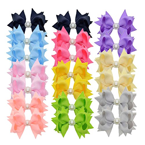 LCLHB 3 Inch Solid Grosgrain Bows With Pearl For Toddler Girls 20 Pack