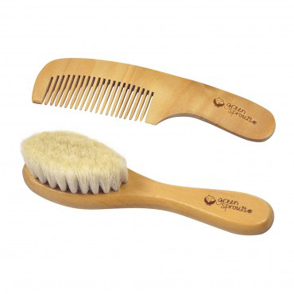 Green Sprouts Baby Wooden Brush and Comb Set, Natural i Play 301700-018-00