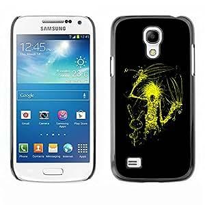 Carcasa Funda Prima Delgada SLIM Casa Case Bandera Cover Shell para Samsung Galaxy S4 Mini i9190 MINI VERSION! / Business Style Yellow Scissor Hand