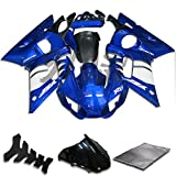 9FastMoto Fairings for yamaha R6 YZF-600 1998 1999 2000 2001 2002 YZF 600 R6 Motorcycle Fairing Kit ABS Injection Set Sportbike Cowls Panels (Blue & White) Y0538