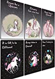Something Unicorn - Wall Posters for Teen Girls, Kid's Room, Nursery, Girl's Bedroom Decor. Essential Item for Unicorn Wall and Room Decoration. Set of 6 Prints, 11in x 17in, Rainbow Set